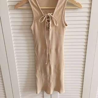 💎氣質裸色 蝴蝶結綁帶 長版上衣💎#含運最划算
