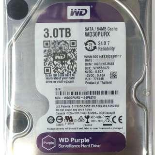 """[二手] WD 紫盤 3.5"""" SATA 3TB Harddisk 3.5吋 硬盤 監控系統專用 WD30PURX 大量供應~ 7日保用"""