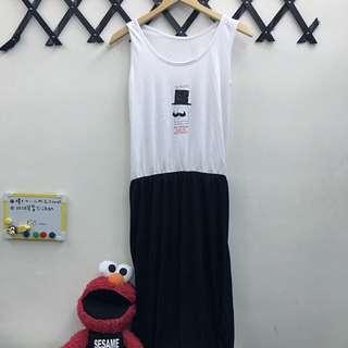 長洋裝 黑白 鬆緊 無袖 可愛 全新 #女裝九九出清