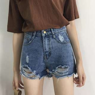 S M L jeans ripped shorts