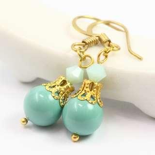 Handmade Earrings - Swarovski Pearl Earrings, Jade Pearl Earrings, Green Earrings, Turquoise Earrings