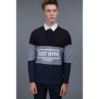 Hype 長袖上衣 tri color polo 襯衫領 灰 黑