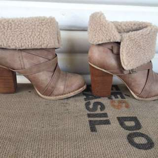 Women's Lace Up Warm Faux Fur Chunky Heel Boots