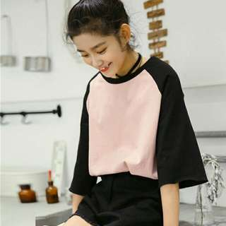 Korean Raglan Colour block Oversized Bf Longsleeve Top