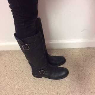 Black Leather Boots Size 39