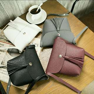 [2 for $6] Small Leather Tassel Sling Shoulder Bucket Bag Ulzzang Korean Style