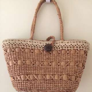 Lace detail rattan/basket beach bag