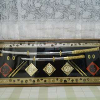 Antique Samurai display in frame