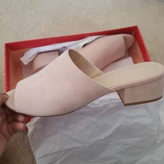 Nude Suede Mules Size 7