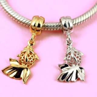 Sterling Silver Goldfish Fish Charm Bead / Pendant For Bracelet Or Necklace