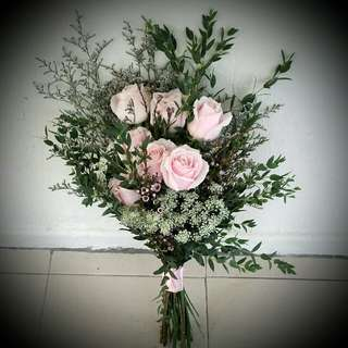 Wedding Flowers: Rustic Bouquet, Roses.