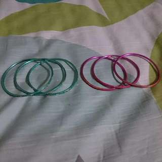 Pink & Blue Green Bangles Set