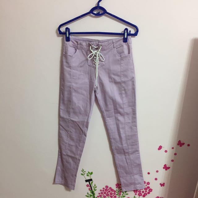 【全館50】全新日系淺紫綁帶長褲