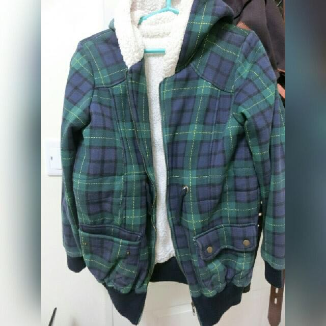 韓版格子厚外套