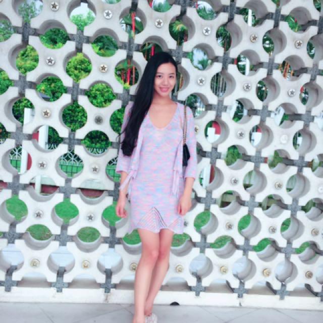 💎紫粉色 無袖針織洋裝+流蘇小外套💎#含運最划算