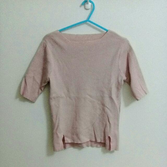 針織 短袖 淡粉紅 上衣