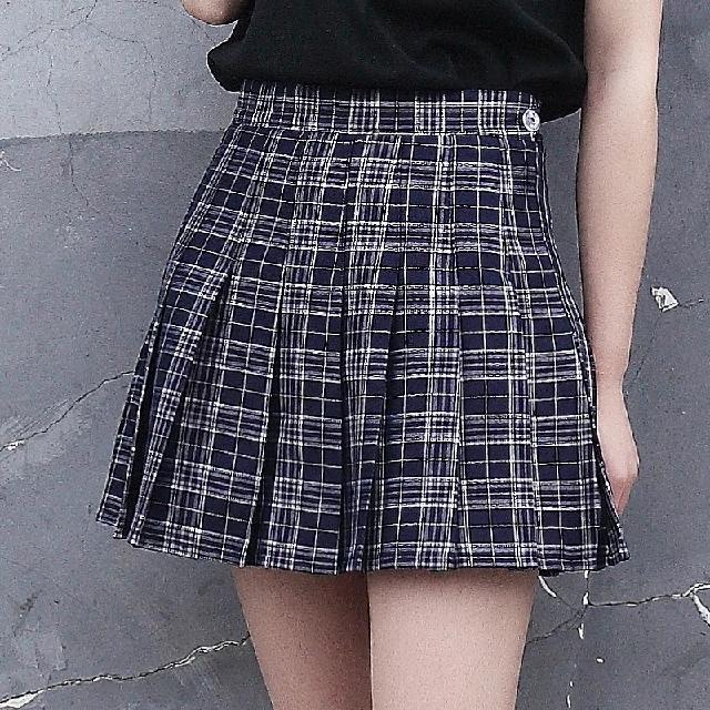 格紋百摺短裙 褲裙 學院風 #女裝九九出清