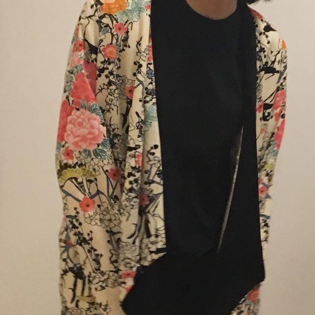 牡丹 仙鶴 絲質 外套 防曬衣 小披肩