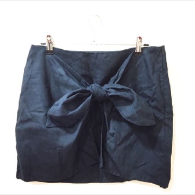韓國綁帶 蝴蝶結 深藍 窄裙 時尚OL 韓妮