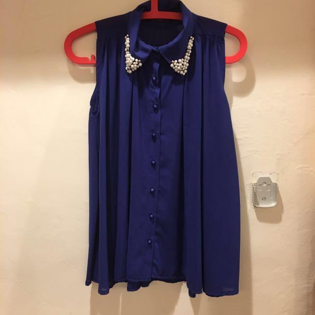 寶藍 雪紡上衣 Queen Shop#夏日九九出清