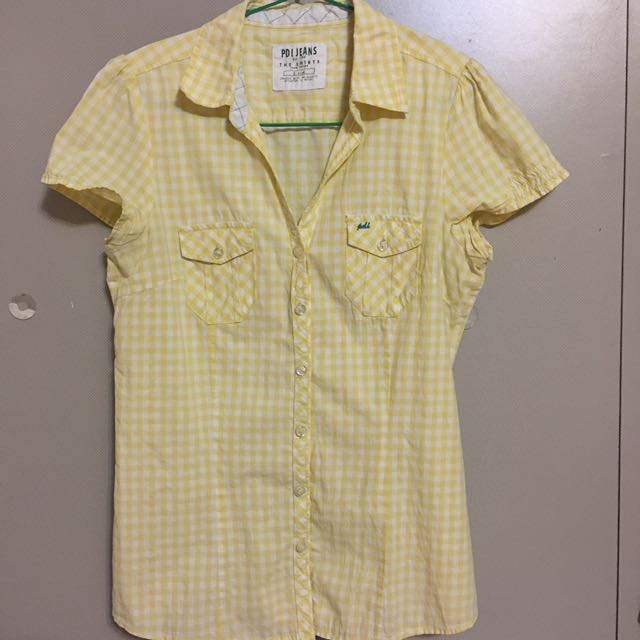 💟 PDI Jeans: Yellow Checkered Short Sleeve Blouse