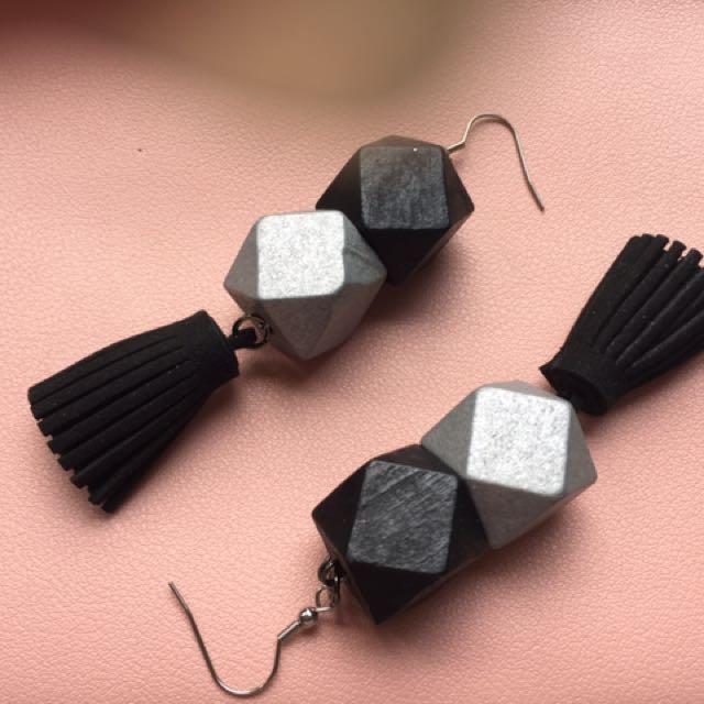 Black silver cube earrings