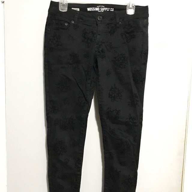 Black Skinny Jeans With Black Velvet Flowers