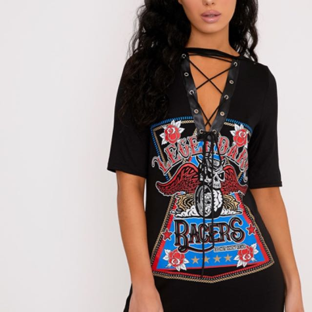 Brand New Racer Lace Up Tshirt Dress