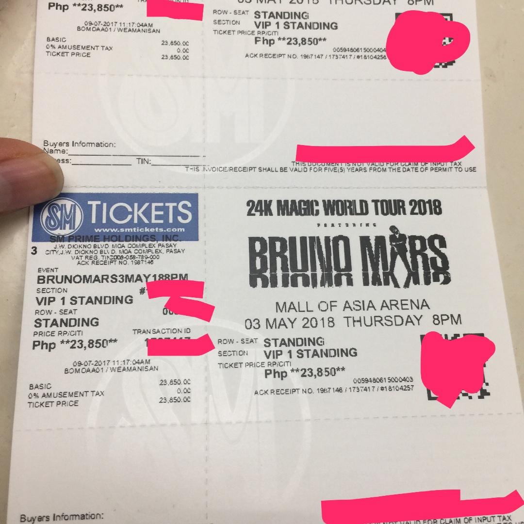 Bruno mars vip 1 concert tickets ticketsvouchers event tickets on bruno mars vip 1 concert tickets ticketsvouchers event tickets on carousell m4hsunfo