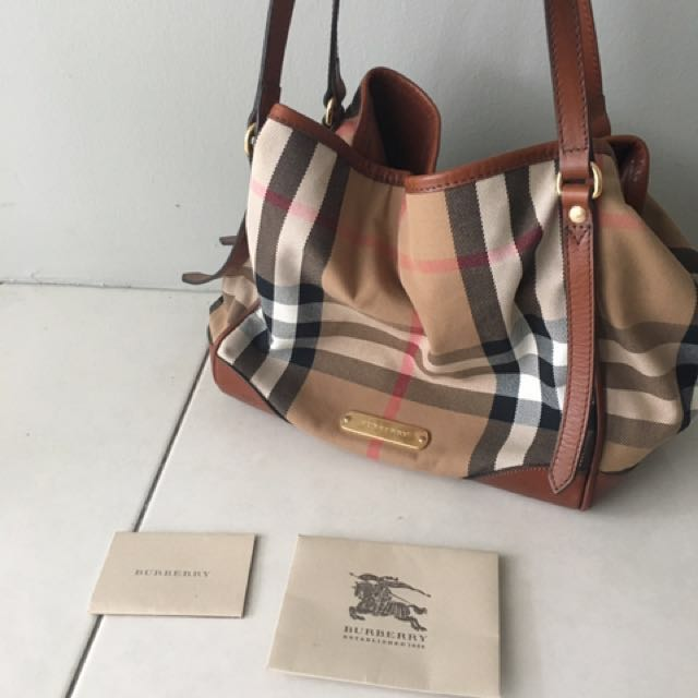 801fc6a84c2 Burberry Bridle House Check Canvas Canterbury leather Tote (Small), Luxury,  Bags & Wallets on Carousell
