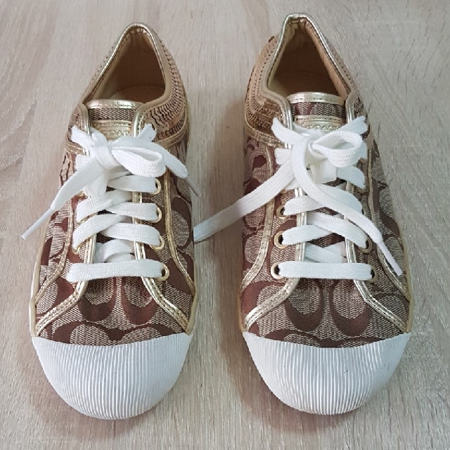 12ff110893f ... discount code for coach zorra brown signature logo shoes with gold  sequin trim a1412 sold out