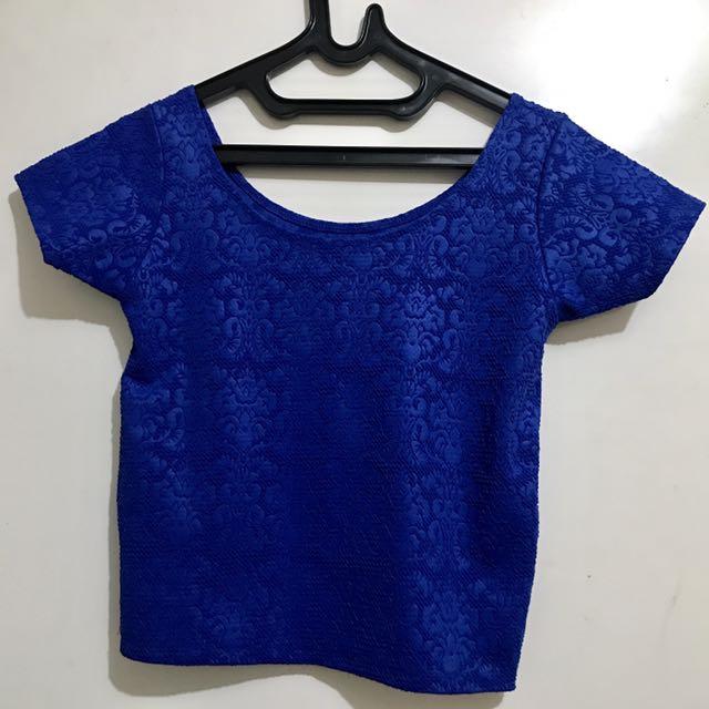 Crop top electric blue