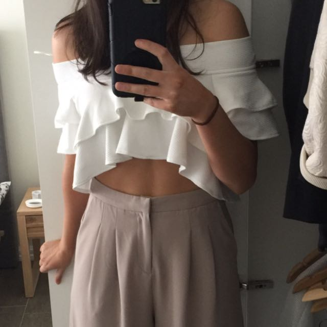Cropped White Frill Top
