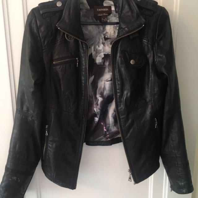 Danier black leather coat. Size xs