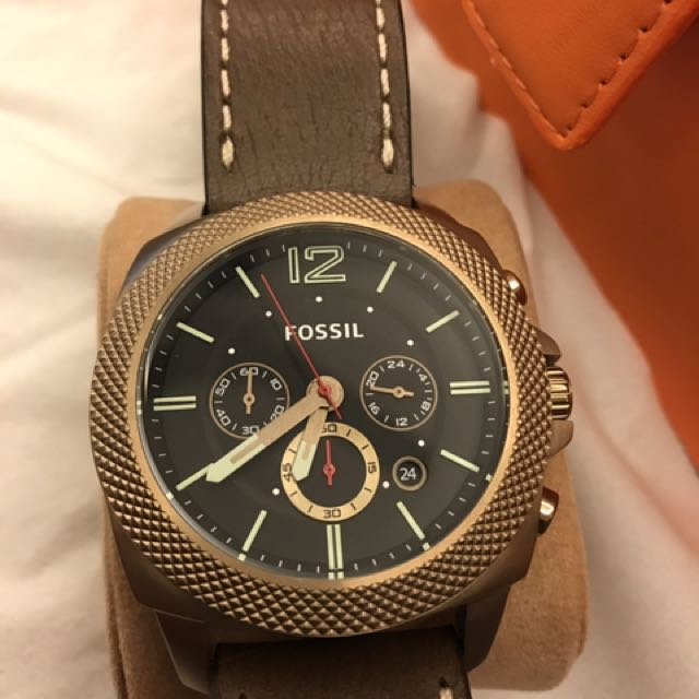 Fossil Men's Machine Vintage Gold Tone Chronograph Brown Leather Watch BQ2032