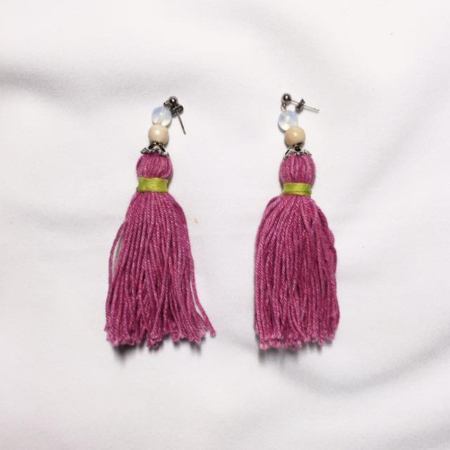 Fuchsia Tasseled Earrings