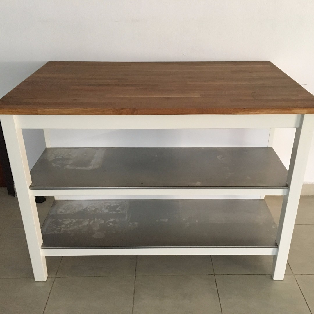 IKEA STENSTORP KITCHEN ISLAND IN WHITE METAL & OAK (5/10 ...