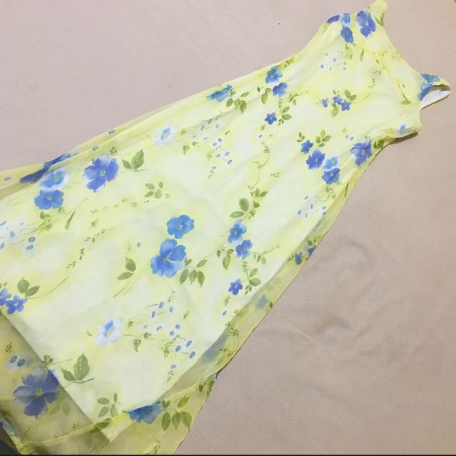 Long yellow floral chiffon dress