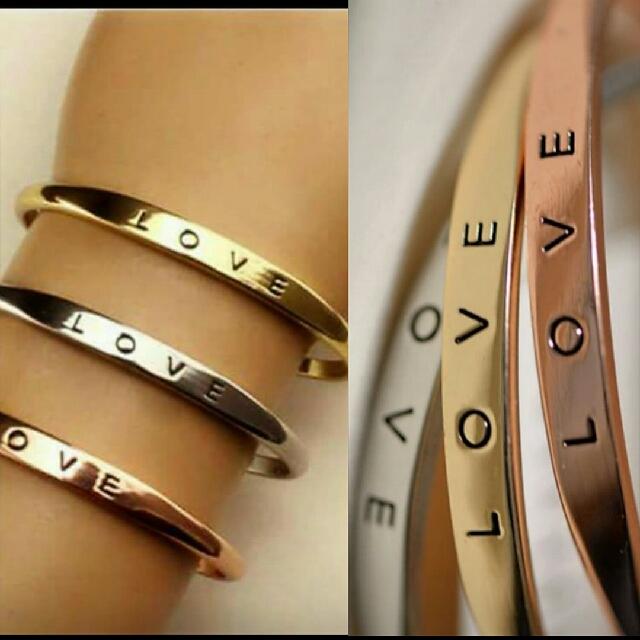LOVE.   Cuff Bracelet.  (Woman's Size)