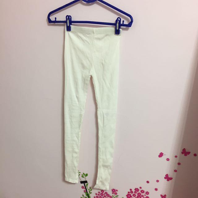 【買就送】全新Lulus白色羅紋內搭長褲