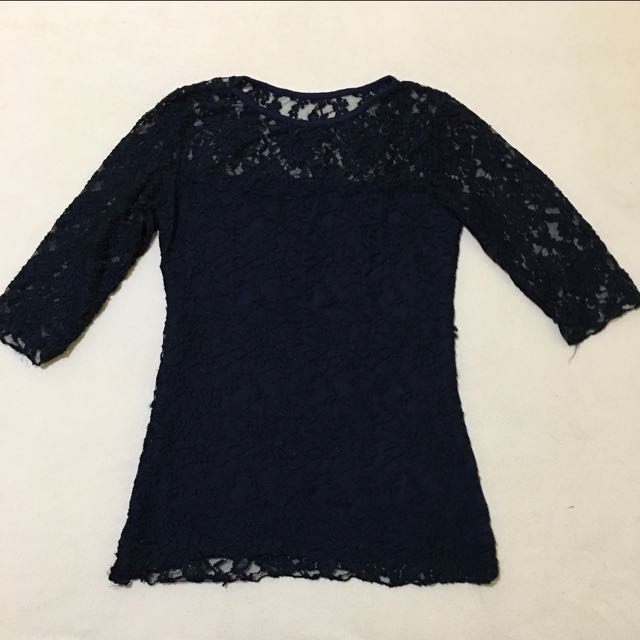 Navy blue lace top with 3/4 sleeves
