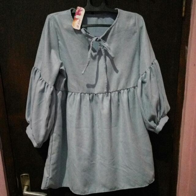 (NEW) Blouse Warna Baby Blue