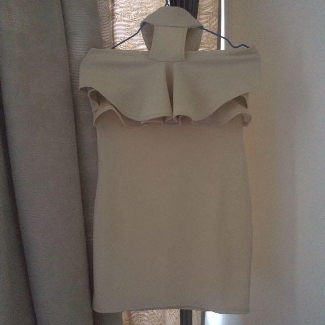 Nude Ruffle Choker Dress