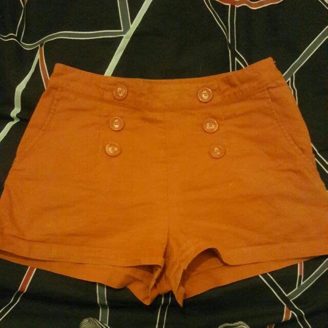 Orange High Waisted Shorts With Pocked