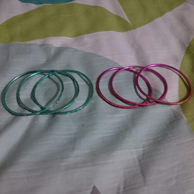 Pink & Blue Green Bangles Set