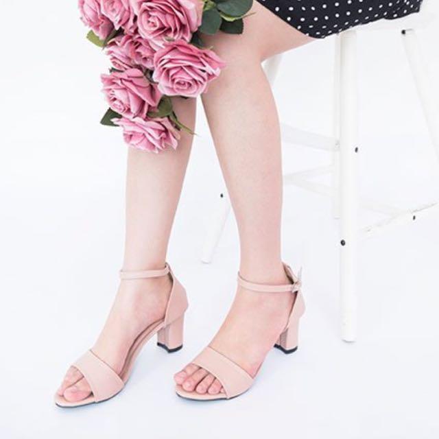 Pink natalie block heels