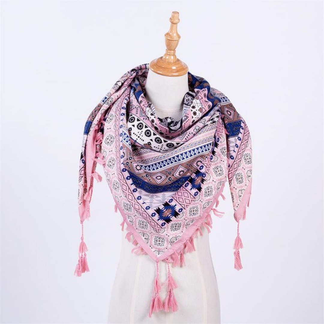 Pink Printed Scarf with Tassels