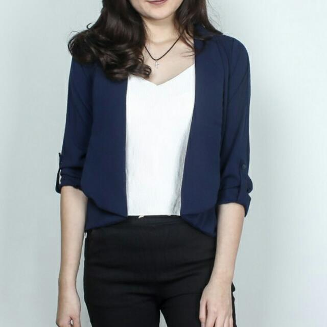 PLAIN CASUAL OUTER NAVY