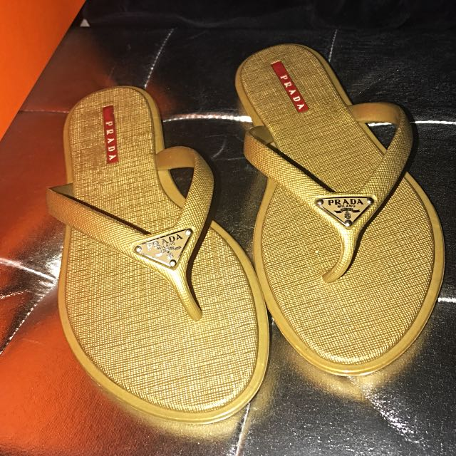 3ec91dce418d Prada Saffiano Rubber Thong Sandals Slippers in Gold