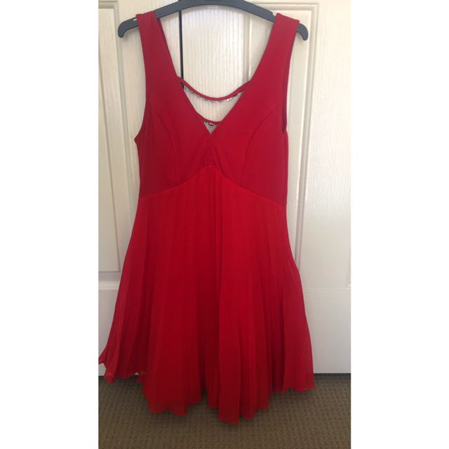 Red Formal Dress With Diamonds On Back